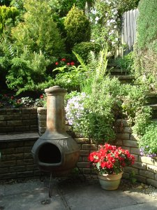 Original patio with chiminea