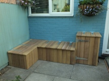 Finished corner bench and cupboard